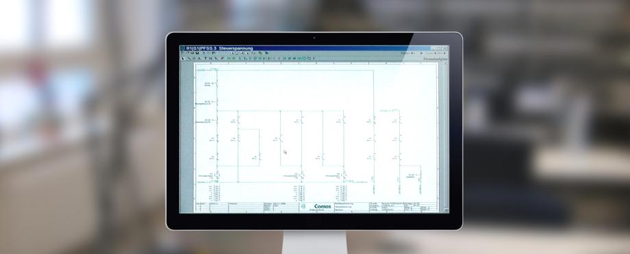Monitor mit Schaltplan in Comos
